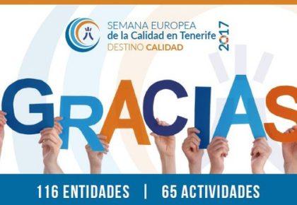 El Observatorio de la Calidad de Tenerife agradece el apoyo y la participación de las entidades colaboradoras en la Semana Europea de la Calidad 2017
