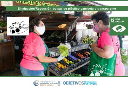 Eliminación/Reducción bolsas de plástico camiseta y transparente ODS 13, 14, 15. Mercadillo de Tegueste